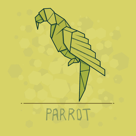 Vector simple illustration paper origami of parrot.