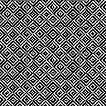 Vector seamless abstract monochrome pattern of rhombus squares. Çizim