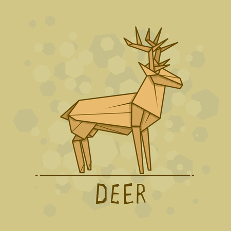 Vector simple illustration paper origami of deer.