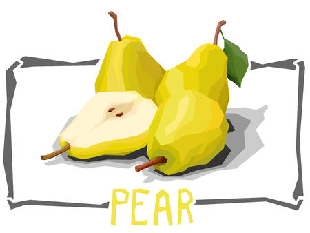 A Vector simple illustration of yellow pears with half in angular cartoon style.