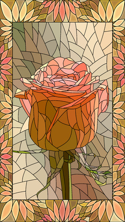 Vector mosaic with red rose in vertical stained-glass window frame.