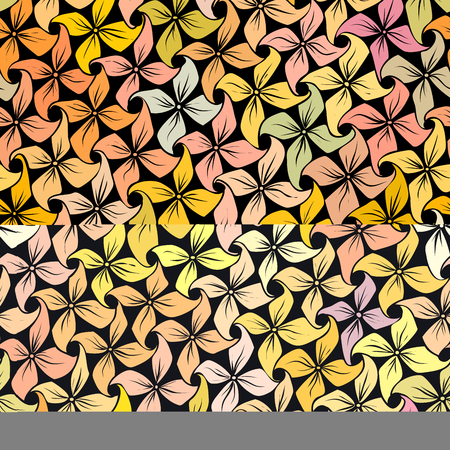 Vector seamless abstract light pastel yellow colors pattern of flowers.