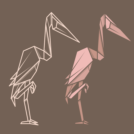 Set vector simple illustration paper origami and contour drawing of heron. Illustration