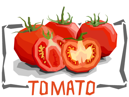 Vector simple illustration of tomatoes with halves in angular cartoon style.