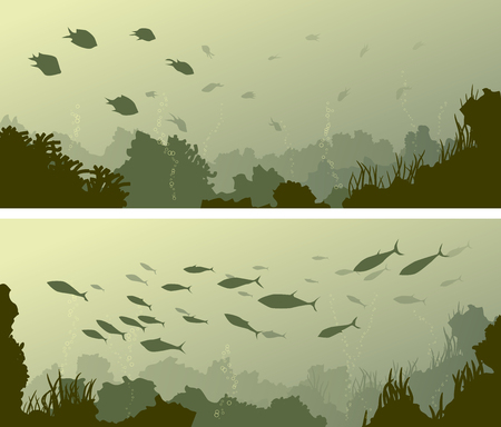 Set of horizontal wide banners of seabed with coral reefs, algae and school of fish. Illustration