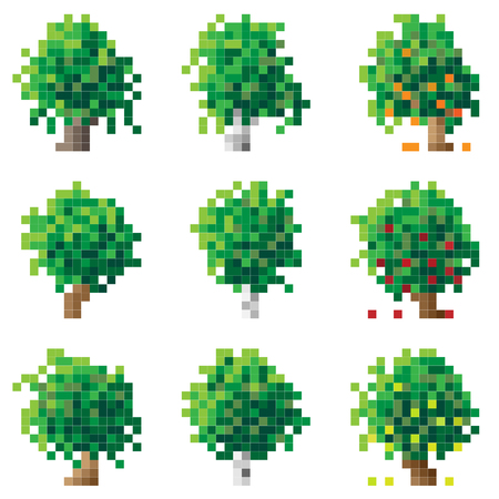 Set of simple green pixel tree. Illusztráció