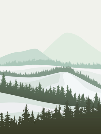 Vertical abstract illustration of snowy coniferous forest valley with mountains.
