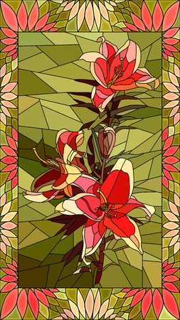 Vector mosaic with couple red lilies in vertical stained-glass window frame.