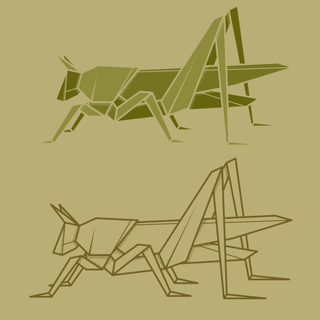 Set vector simple illustration paper origami and contour drawing of grasshopper.