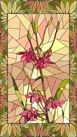Vector mosaic with columbine flowers in vertical stained-glass window frame.