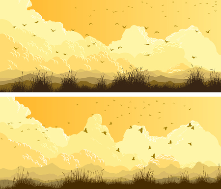 Horizontal wide banners of flock birds on background of yellow sky with meadows and hills.