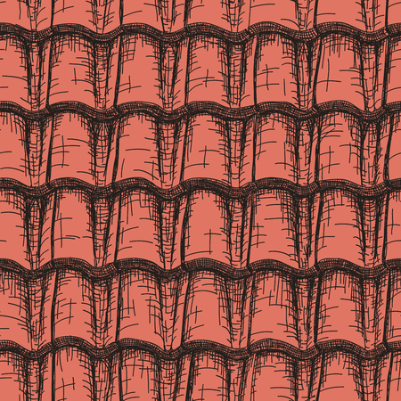 Vector background seamless drawn in pencil red roof tile. Illustration