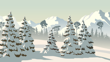 Horizontal vector illustration of snowy spruce trees and coniferous forest with mountains. 矢量图像