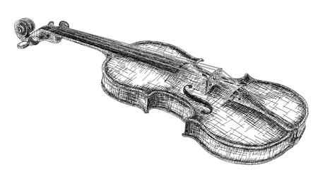 Vector graphic arts sketch of drawing violin (black pen). Illustration