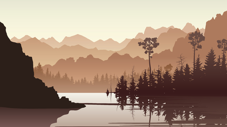 Horizontal illustration of coniferous forest with lake and rock mountains ( in brown tone).