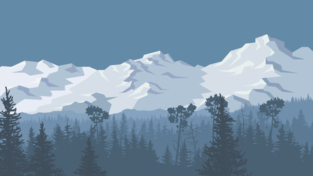 Horizontal vector illustration of coniferous forest and spruce trees with snowy mountains. Ilustrace