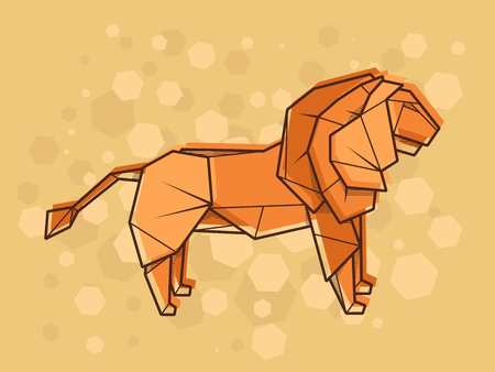 Vector abstract simple illustration drawing outline lion. Illustration