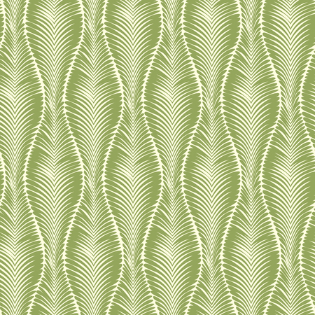 Vector seamless abstract green pattern of simple wave leaves.