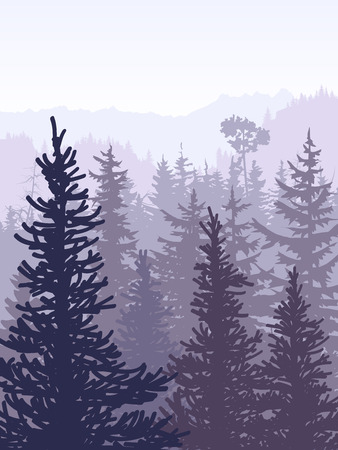 Vertical vector illustration of coniferous forest (spruce, pine) with mountain range in violet tones. Illustration