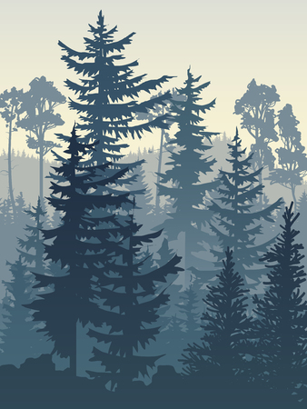 Vertical vector illustration of coniferous forest (spruce, pine) in blue tones. 일러스트