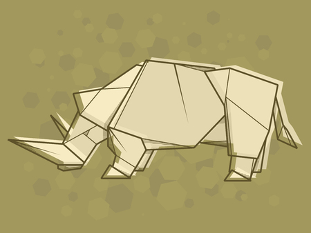 Vector abstract simple illustration drawing outline of rhinoceros.