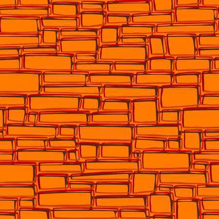 Seamless vector abstract background of orange rectangular different sized bricks. Archivio Fotografico - 96078573