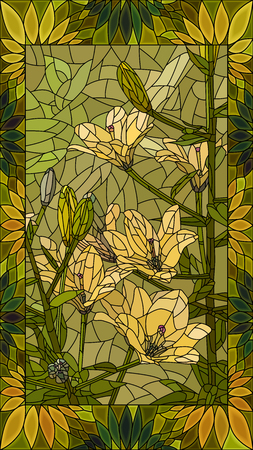 A Vector mosaic with flowers yellow lilies in vertical stained-glass window frame.