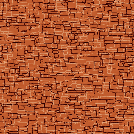 Seamless vector background of red stone wall ancient building with different shapes bricks.