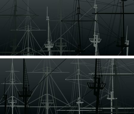 Set of horizontal abstract banners with masts and sailyards of sailing ships in black. Ilustração