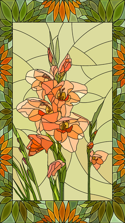 Vector mosaic with flowers pink gladiolus in vertical stained-glass window frame. Standard-Bild - 96720820