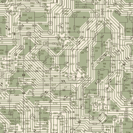 Seamless background of electrical circuit of radio device (resistance, transistor, diode, capacitor, inductor) in green tone. Vettoriali