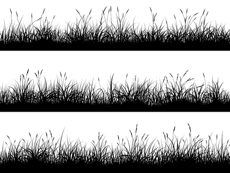Set of horizontal banners of grassland meadow silhouettes with high grass.