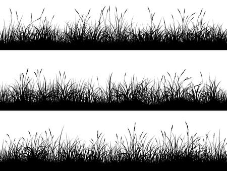 Set van horizontale banners van grasland weide silhouetten met hoog gras. Vector Illustratie