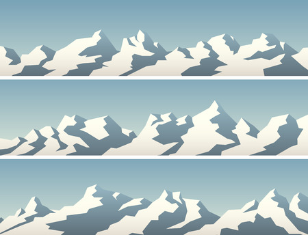 Set of vector horizontal simple banner with snowy mountains.