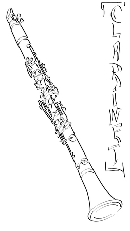 Vector abstract graphic arts sketch of drawing clarinet (black ink). Illustration