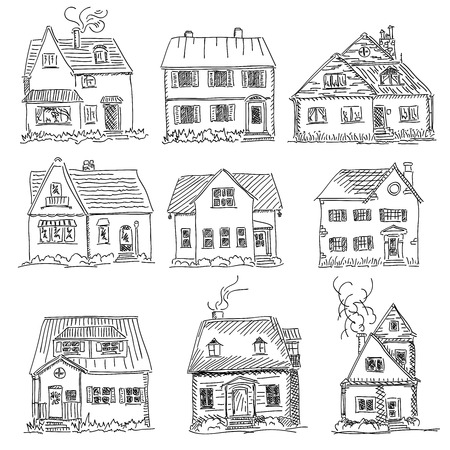 Set of vector graphic simple sketch of houses drawing (black pen). Standard-Bild - 102727628