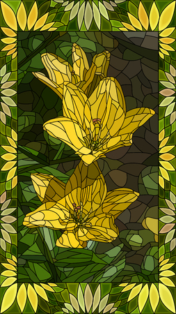 Vector mosaic with yellow lilies in horizontal stained-glass window frame.