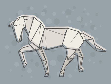 Vector abstract simple illustration drawing outline horse. 矢量图像
