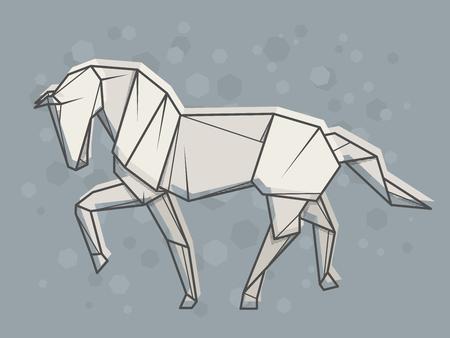 Vector abstract simple illustration drawing outline horse. Illusztráció
