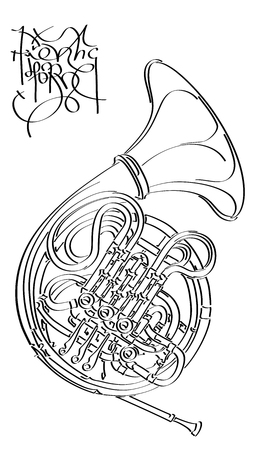 Vector abstract graphic arts sketch of drawing French horn (black ink).