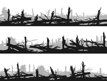 Set of horizontal banners with silhouettes of many broken tree trunks (windbreak, deadwood, windfall).