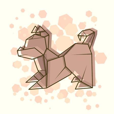 Vector abstract simple illustration drawing outline puppy.