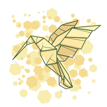Vector abstract simple illustration drawing outline humming bird.