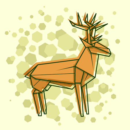 Vector abstract simple illustration drawing outline deer. Stock Illustratie