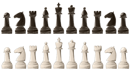 Set of vector black and white chess pieces with elements graphic arts sketch. Stock Illustratie
