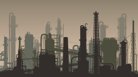 Horizontal dark brown illustration industrial part of city with factories, refineries and power plants. Stock Illustratie