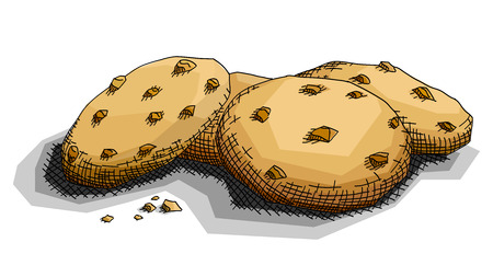 Vector illustration graphic arts sketch of drawing chocolate cookies . Stock Illustratie