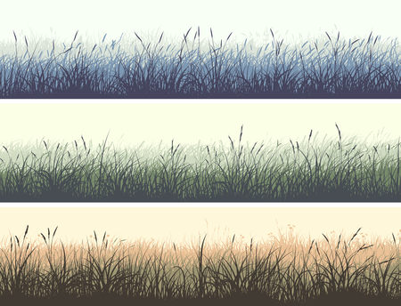 Set of horizontal color banners of grassland meadow with high grass. Stock Illustratie