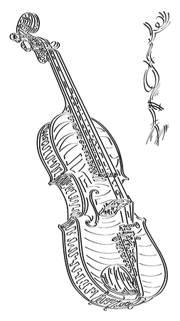 Vector abstract graphic arts sketch of drawing violin (black ink).