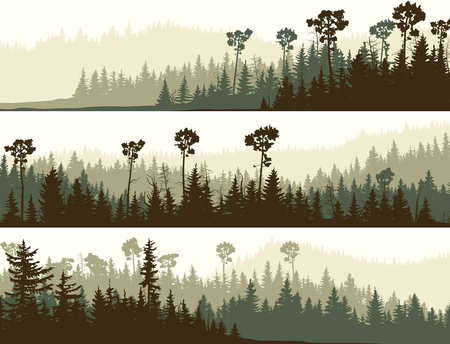 Set of horizontal banners of coniferous dark green forest valley. Stock Illustratie